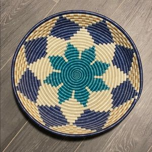 Boho hand woven basket from India